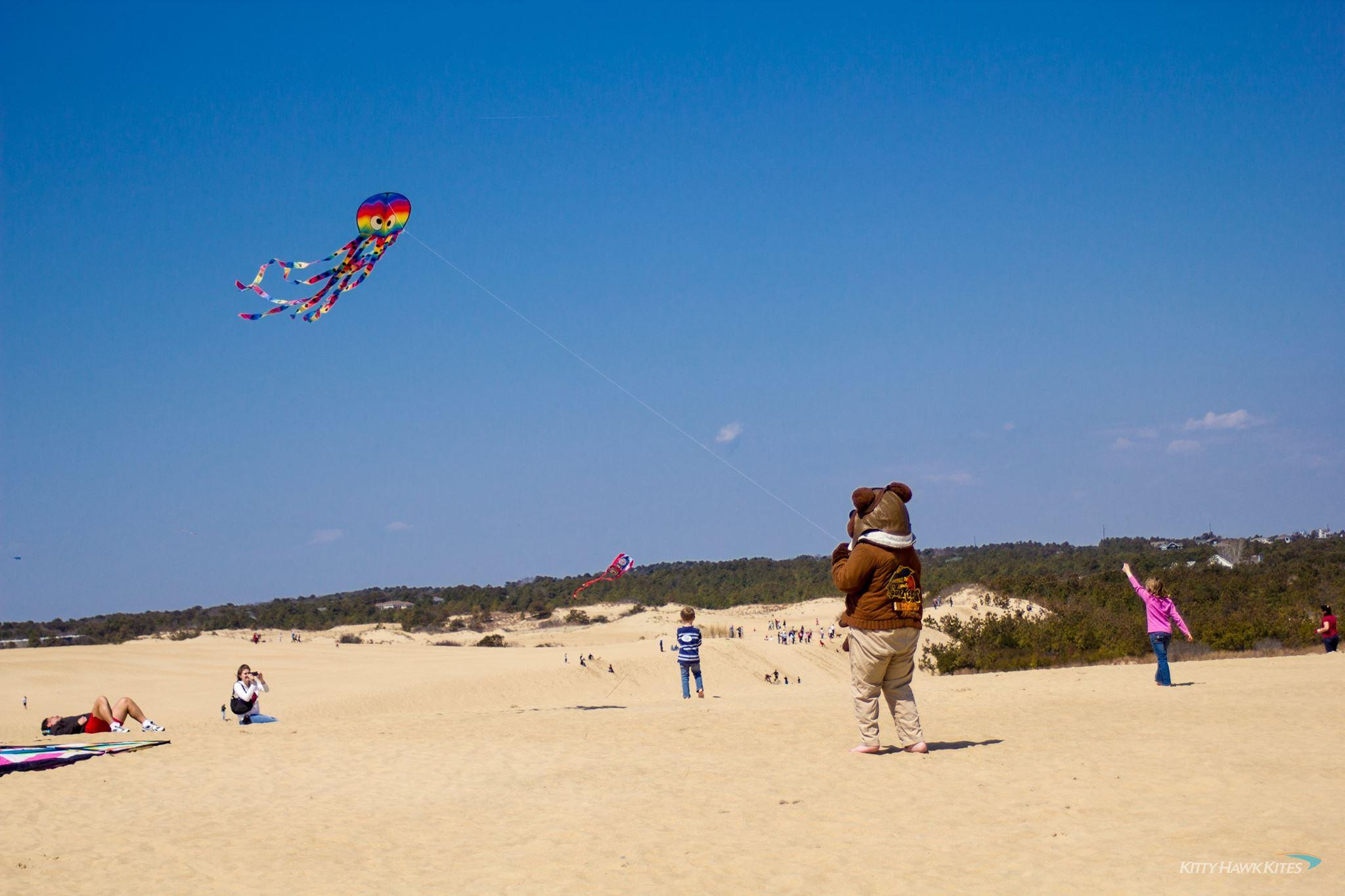 Flying kites at Jockey's Ridge State Park