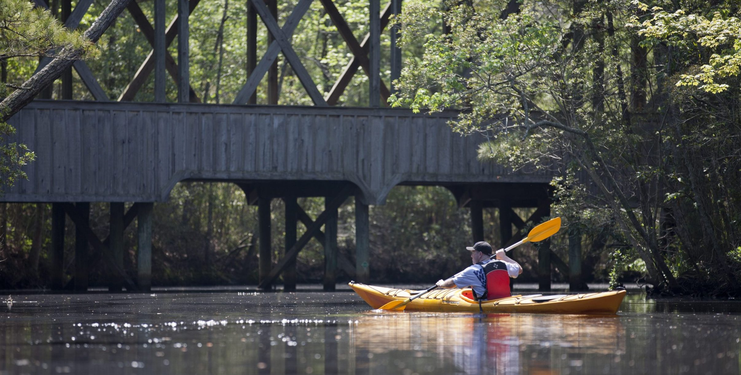 Kayaking in the Kitty Hawk Maritime Forest on the Outer Banks